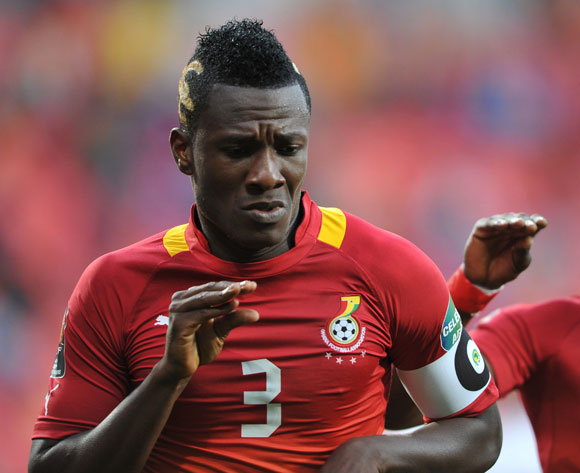 Asamoah Gyan 'Baby Jet' celebrating after scoring at Afcon