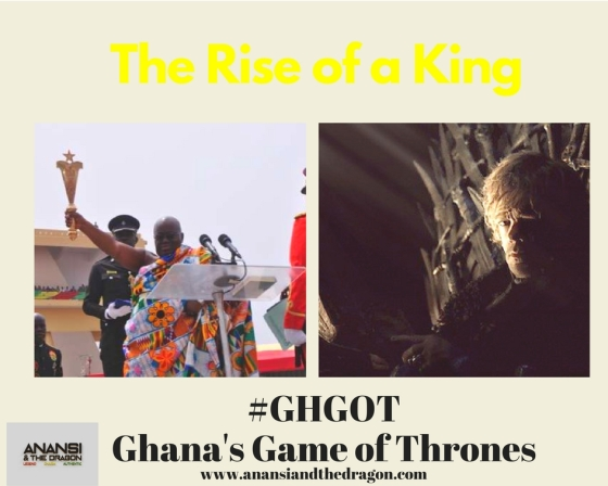 President of Ghana swearing-in ceremony and Tyrion Lannister on the Iron Throne